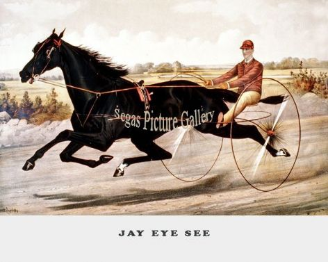 Fine art Horseracing Print of the 1800&#39;s Racing and Trotting of Jay Eye See by Currier and Ives reproduced by Segas Picture<br />Gallery.<br />Open Edition